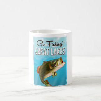 Great Lakes fishing vintage travel poster Classic White Coffee Mug