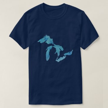 Beach Themed Great Lakes map outline silhouette T-Shirt
