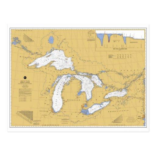 Great Lakes Nautical Chart Postcard