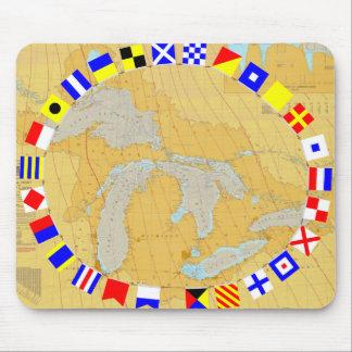 Great Lakes Nautical Chart & Signal Flags Mousepad
