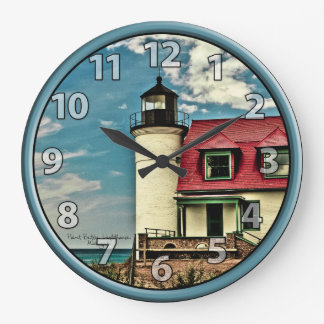 Great Lakes Pt. Betsie Lighthouse on Lake Michigan Large Clock