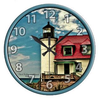Great Lakes Pt. Betsie Lighthouse on Lake Michigan Large Clock