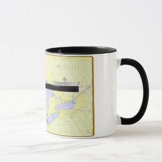 Great Lakes Ship and Chart on a Coffee Mug