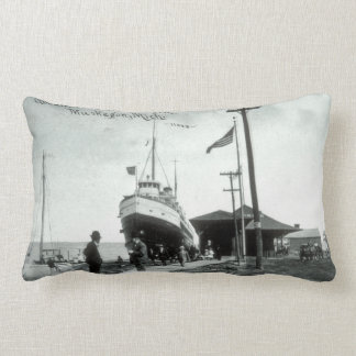 Great Lakes Steamer at Dock Muskegon Michigan Lumbar Pillow