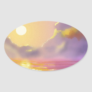 Great lakes sunset oval stickers