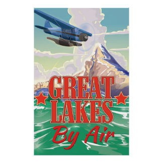 Great Lakes vintage travel poster. Poster