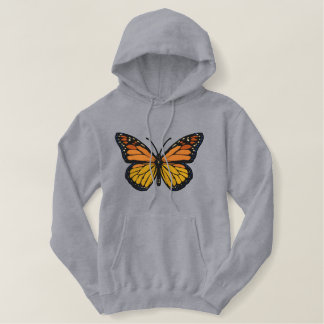Great large Monarch Butterfly Embroidery Embroidered Hoodie