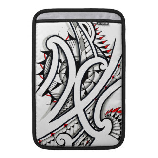 Great Maori tribal tattoo designs with red shapes MacBook Air Sleeve