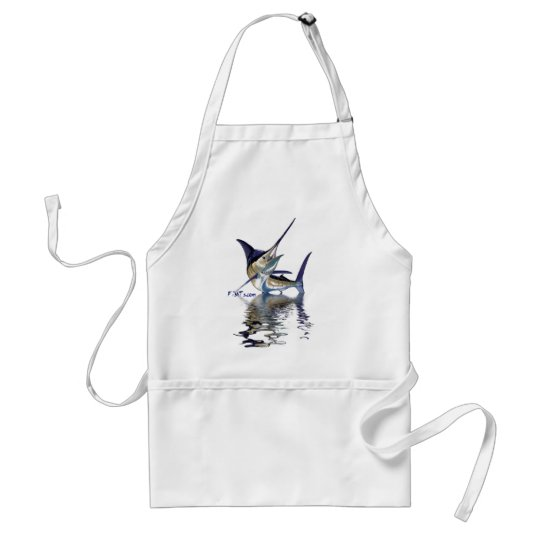 Great marlin with reflection in water adult apron