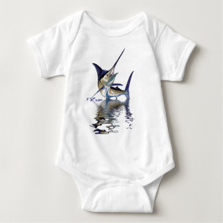 Great marlin with reflection in water baby bodysuit