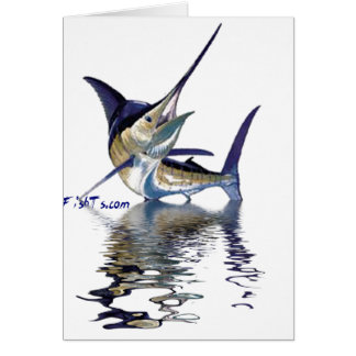 Great marlin with reflection in water card