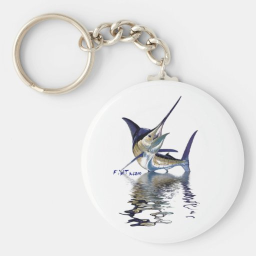 Great marlin with reflection in water keychain