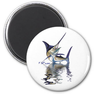 Great marlin with reflection in water fridge magnet