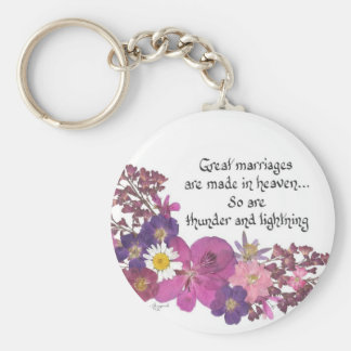 Great marriages are made in heaven! basic round button keychain
