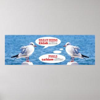 Great Minds Think Alike Fools Seldom Differ Gulls Poster