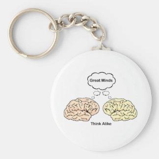 Great Minds Think Alike! Basic Round Button Keychain