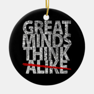 Great Minds Think Alike Double-Sided Ceramic Round Christmas Ornament