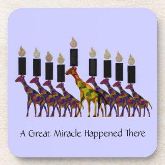 Great Miracle Giraffes Hannukah Menorah Coasters
