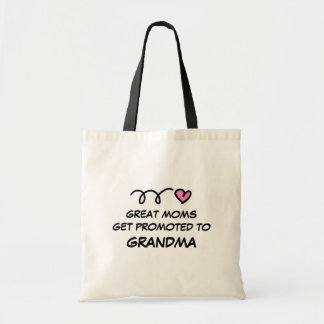 GREAT MOMS GET PROMOTED TO GRANDMA canvas tote bag
