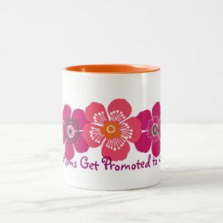 Great Moms Get Promoted to Grandma - orange pink Two-Tone Coffee Mug