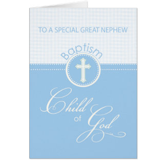 Great Nephew Baptism Congratulations Blue Child Greeting Card