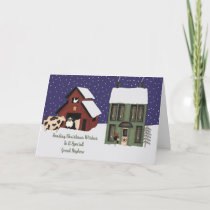 Great Nephew Prim Farm Christmas Holiday Card