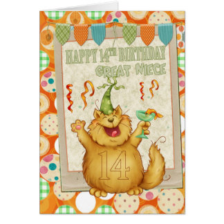 Great Niece 14th Birthday With Fun Party Cat Greeting Card
