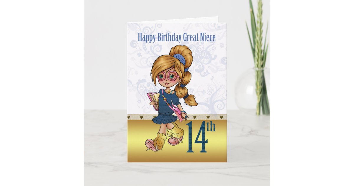 Great Niece 14th Birthday With Trendy Girl Card Zazzle