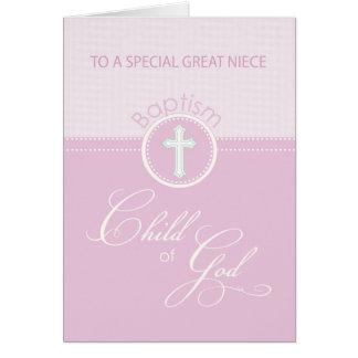 Great Niece Baptism Congratulations Pink Child Card
