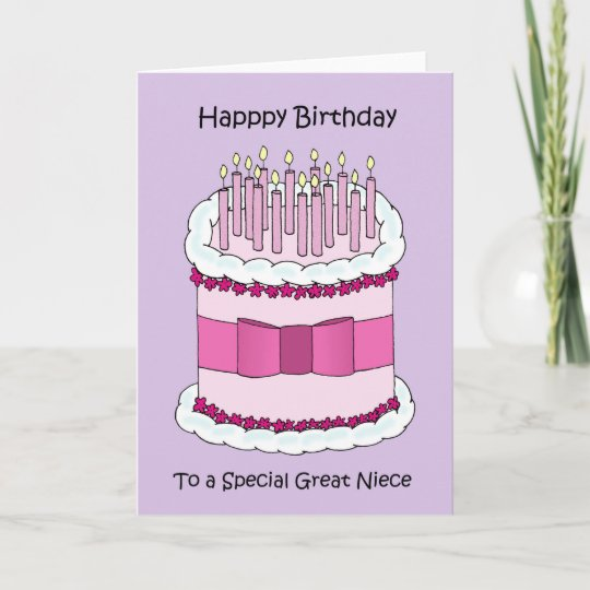 Great Niece Happy Birthday Cute Cake Card Zazzle Com