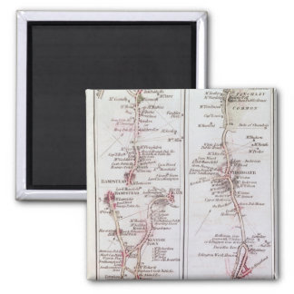 Great North Road out of London, 1st July 1790 2 Inch Square Magnet