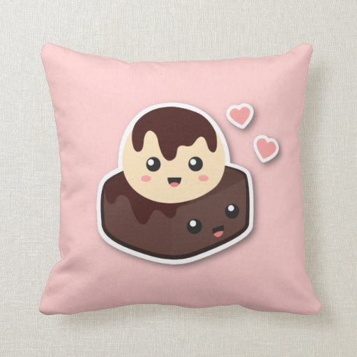 Great pair of Vanilla Ice Cream and Brownie Throw Pillows