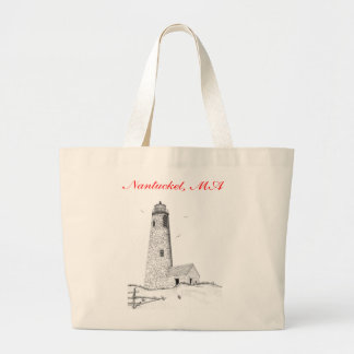 Great Point Lighthouse Jumbo Tote Bag