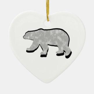 GREAT POLAR BEAR Double-Sided HEART CERAMIC CHRISTMAS ORNAMENT