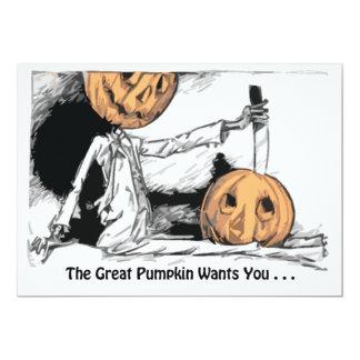 Great Pumpkin Halloween Invite, customizable Card