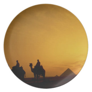 Great Pyramids of Giza, Egypt at sunset Dinner Plate