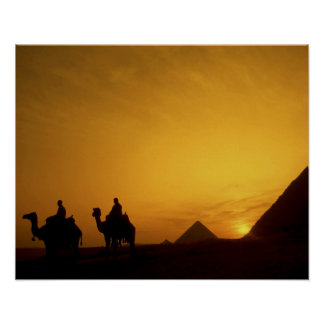 Great Pyramids of Giza, Egypt at sunset Poster