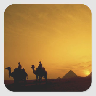 Great Pyramids of Giza, Egypt at sunset Square Sticker