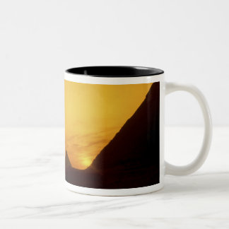 Great Pyramids of Giza, Egypt at sunset Two-Tone Coffee Mug