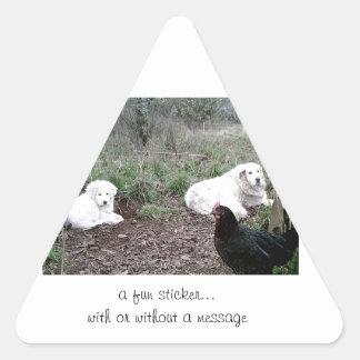 Great Pyreenes Grandma & Granddaughter Triangle Sticker