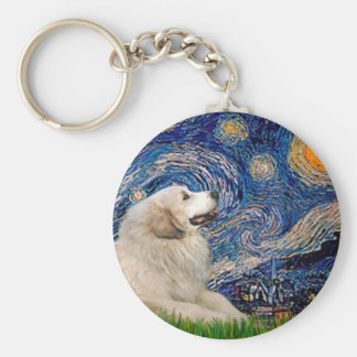 Great Pyrenees 2 - Starry Night Basic Round Button Keychain