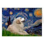 Great Pyrenees 2 - Starry Night Greeting Cards