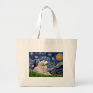 Great Pyrenees 2 - Starry Night Large Tote Bag