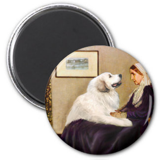 Great Pyrenees 2 - WHistler's Mother 2 Inch Round Magnet