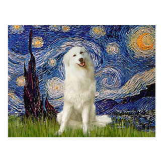 Great Pyrenees 3 - Starry Night Postcard