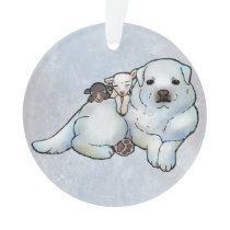 Great Pyrenees and Lambs Ornament