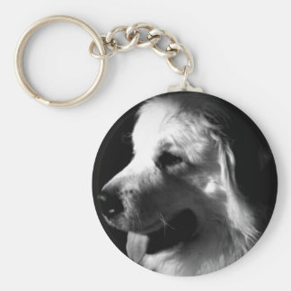 Great Pyrenees Black and White Photo products Basic Round Button Keychain