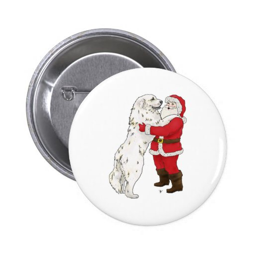 Great Pyrenees Christmas Greeting 2 Inch Round Button