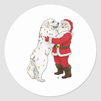 Great Pyrenees Christmas Greeting Classic Round Sticker