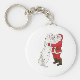 Great Pyrenees Christmas Greeting Basic Round Button Keychain